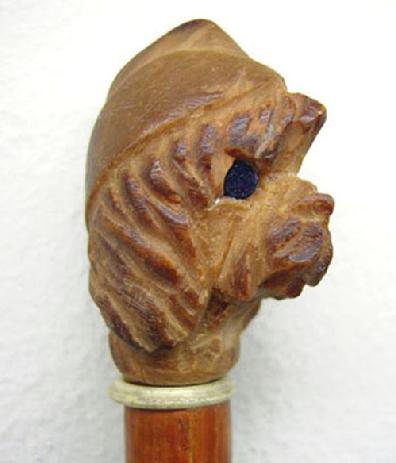 Rare WWII U.S. Carved Wood Swagger Stick-Dog Wearing WAC Hat - Closeup View