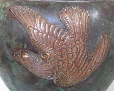 Antique Japanese Bronze/Mixed Metal Eagle Jardiniere- Meiji - Closeup View Side 1
