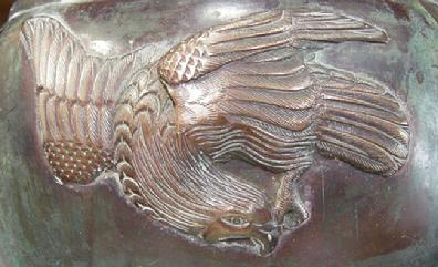 Antique Japanese Bronze/Mixed Metal Eagle Jardiniere- Meiji - Closeup View Side 2