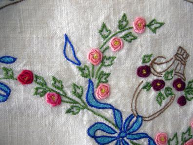 Antique Handl-Embroidered Linen Topper - 1930's - Closeup View1