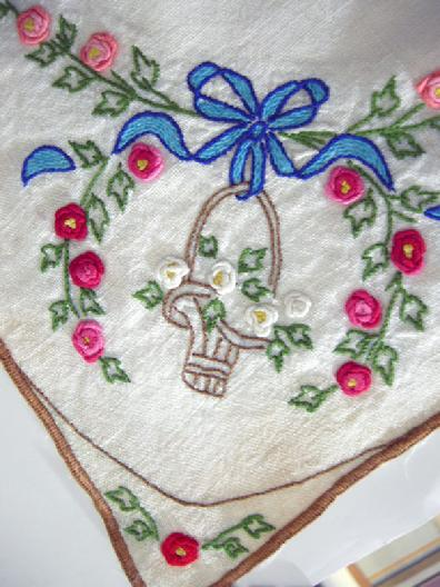 Antique Handl-Embroidered Linen Topper - 1930's - Closeup View 3