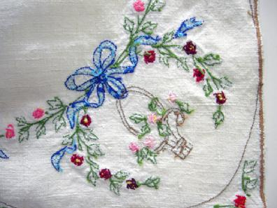 Antique Handl-Embroidered Linen Topper - 1930's - Closeup View 2 Reverse