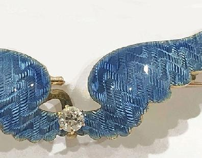 Antique Franch 14K Yellow Gold and Diamond Blue Guilloche Enamel Brooch/Watch Pin- Alternate Close View