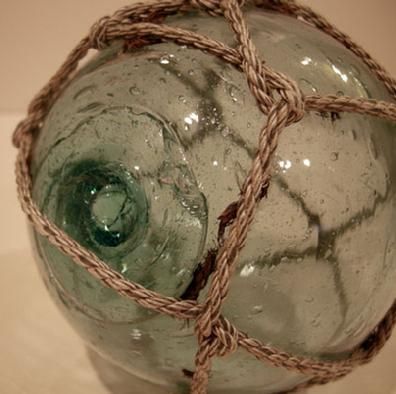 ANTIQUE JAPANESE TEAL/AQUA GLASS FISHING FLOAT - Pontil View