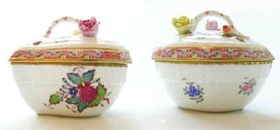 Vintage Hand-Painted Herend China 'Chinese Bouquet' Multicolor Covered Heart Bonbon - Side Views