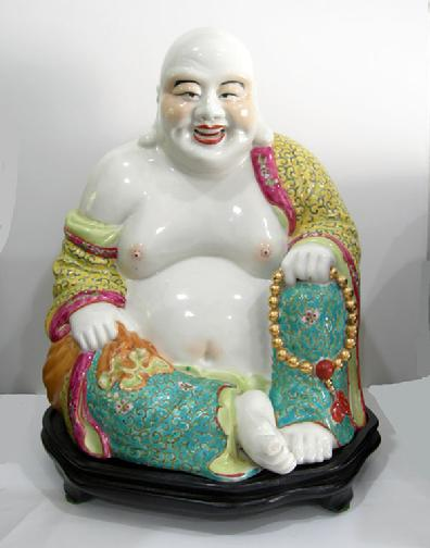Large Chinese Famille Rose Figure of Hotei - 1960