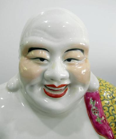 Large Chinese Famille Rose Figure of Hotei - 1960 - Face Closeup