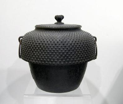 Antique Japanese Cast Iron Tea Ceremony Kettle with 'Arare' ( Hailstone) Pattern - Signed.