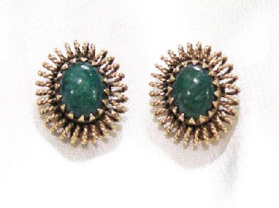Pair of Vintage 14K Yellow Gold and Jade Earrings