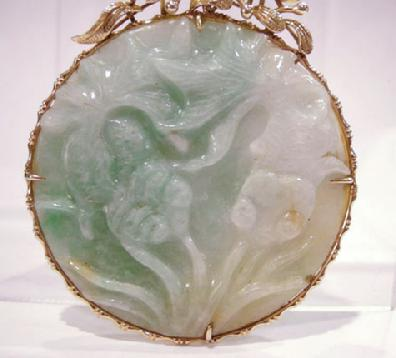 14K YG Mounted Carved Jade Disc - Front View Closeup