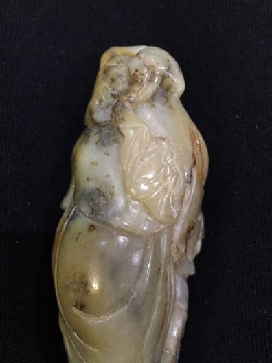 Large Antique Chinese Mottled Jade Figural Carving - View of the Bat