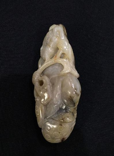 Large Antique Chinese Mottled Jade Figural Carving - Left View