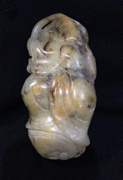 Large Antique Chinese Mottled Jade Figural Carving - Reverse View