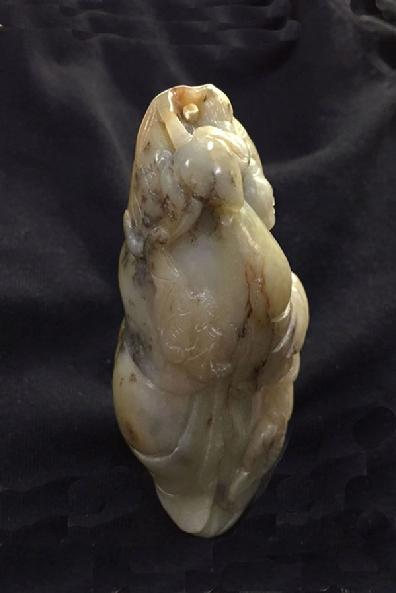 Large Antique Chinese Mottled Jade Figural Carving - Right View