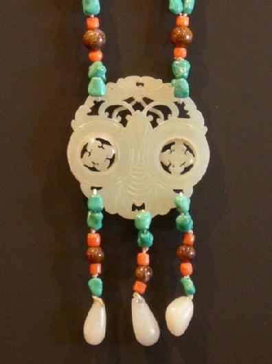 Turquoise, Coral and Agate Necklace with Carved Double Jade Prayer Wheel - Closeup View