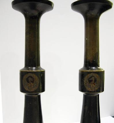 Antique Japanese Bronze Buddhist Altar Pricket Candlesticks -Closeup View of Cranes