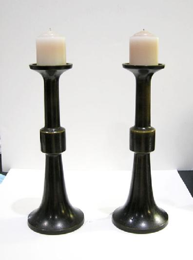 Antique Japanese Bronze Buddhist Altar Pricket Candlesticks - Reverse View With Candles
