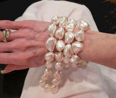 "Huge Vintage Southsea Keshi Pearl Necklace - 38"" - View Showing True Size"
