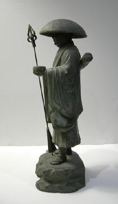 Fine Vintage Japanese Metal Kobodaishi Kukai Statue - Showa Period - Signed - Side View 2