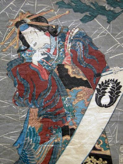 Antique Japanese Woodblock Oban Print-1853- Kunisada/Toyokuni III - Princess Wakana - Closeup View