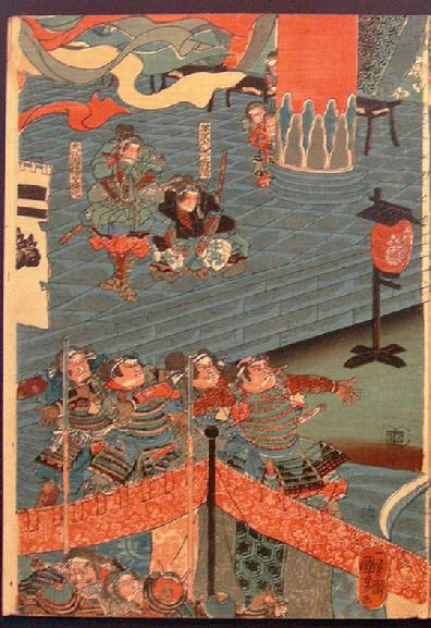Japanese Woodblockk Print Diptych-Utagawa Kuniyoshi - 1843-45 - Left Panel View