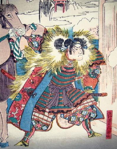 Antique Japanese Musha-e (Warrior) Print- Kuniyoshi - Closeup View