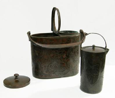 19th c.Japanese Lacquered Wood and Copper Shoto (Portable Stove in Box to Fit - Shoto Views