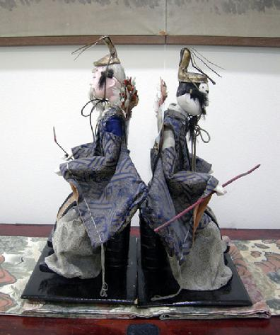 Antique Japanese Zuijin Dolls (Sa-daijin and U-daijin) Ministers of the Left and Right - Side View