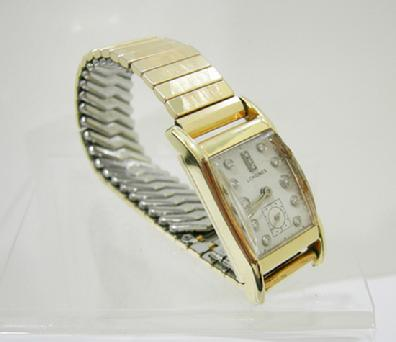 Vintage Men's 14K YG Diamond Dial Longines' Tank Watch - 1940's - Right View
