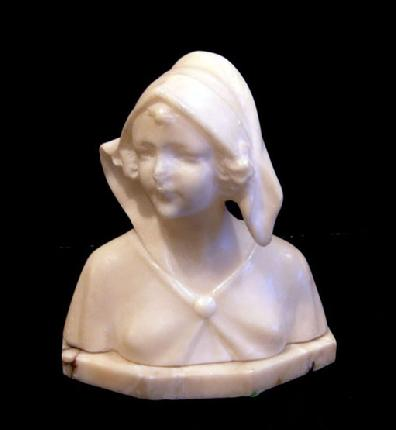 Antique White Marble Bust of a Woman