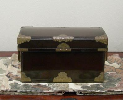 Antique Japanese Black Lacquer Nagamochi (Dowry Trunk) with Brass Mounts