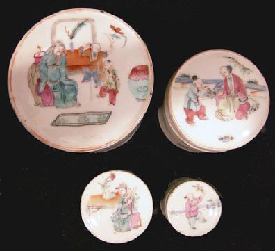 Cabinet Article-Set of Four Chinese Famille Rose Nested Boxs - 19th c. - Top View