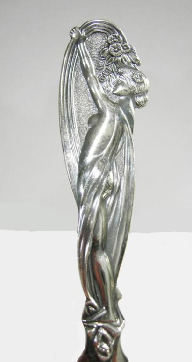 Art Nouveau Silverplate Figural Letter Opener- Wilkens - 1890-1910 - Closeup View