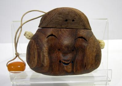 Antique Japanese Mingei (Folk Art) Mulberry Wood Tonkotsu (Tobacco Box) - Okame