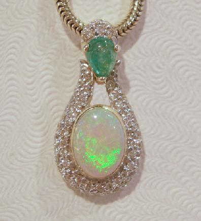 14K YG Opal Diamond Emerald Pendant - Close View