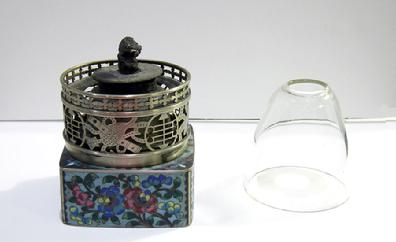 Fine Antique Chinese Floral Cloisonne and Paktong Opium Lamp - Qing- View of Lamp and Chimney