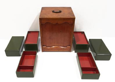 Antique Japanese Wood and Lacquer Obento (Picnic Box) -Meiji - Lacquer Boxes