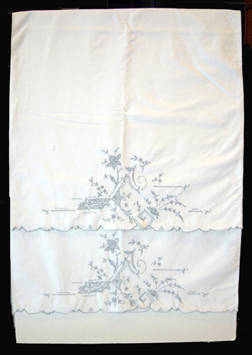 Pair of Antique Cotton Embroidered Trousseau Pillowcases