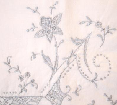 Pair of Antique Cotton Embroidered Trousseau Pillowcases Closeup
