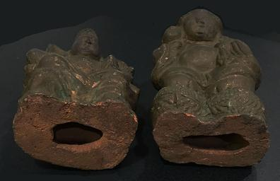 Antique Japanese Clay/Ceramic Figures of Ebisu and Daikoku, the Japanese Gods of Wealth and Good Furtune - View of the Bottom