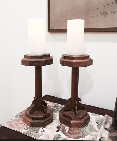 Pair Antique Japanese Carved Wood Shokudai (Candle Stands) - Alternate View
