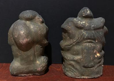 Antique Japanese Clay/Ceramic Figures of Ebisu and Daikoku, the Japanese Gods of Wealth and Good Furtune - Reverse View