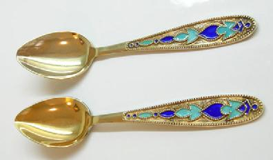 Two Vintage Russian Gilt Silver Enamel - Shapes - Alternate View