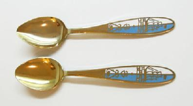 Vintage Pair of Russian Gilt Silver Enamel Spoons -Blue and White with Tall Ships - Alternate View