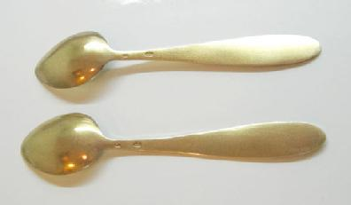 Vintage Pair of Russian Gilt Silver Enamel Spoons -Blue and White with Tall Ships - Reverse View