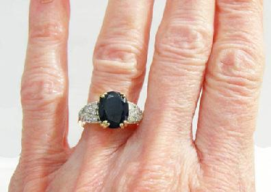 Vintage 14K Yellow Gold Sapphire/Diamond Ring - Estate - Closeup View on Finger