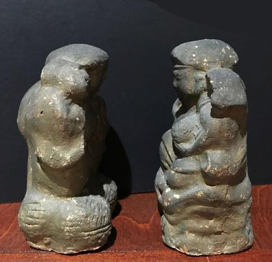 Antique Japanese Clay/Ceramic Figures of Ebisu and Daikoku, the Japanese Gods of Wealth and Good Furtune - Side View