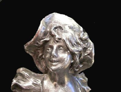 Antique Silverplate Bust of a Woman on Cream Columnar Base - Closeup View