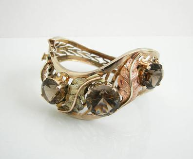 14k YG Smokey Topaz Bracelet with Pink and Gold Leaves-ESTATE -1950s