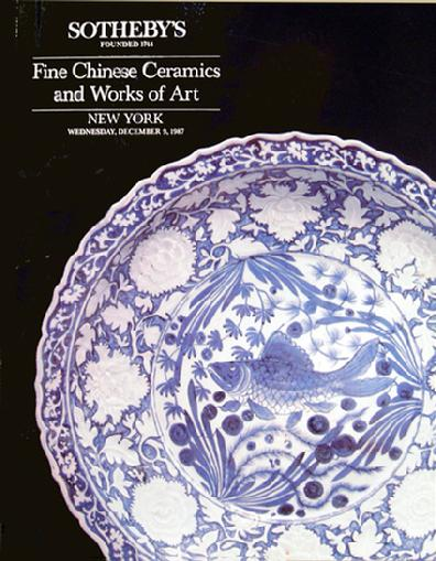 Sotheby's Auction Catalogue: Fine Chinese Ceramics and Works of Art- NY - Dec. 9, 1987